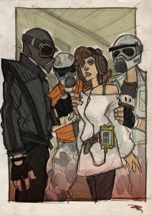 Vader, Leia and troopers