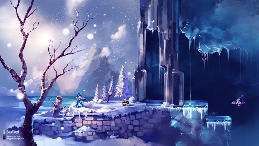 megaman_x___chill_penguim_stage___fanart_by_danielbogni-d9ook8p
