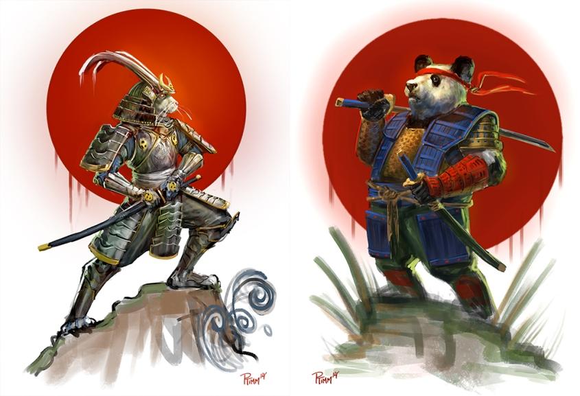 usagi_yojimbo_and_panda_khan_sketches_by_ptimm-d785m3v